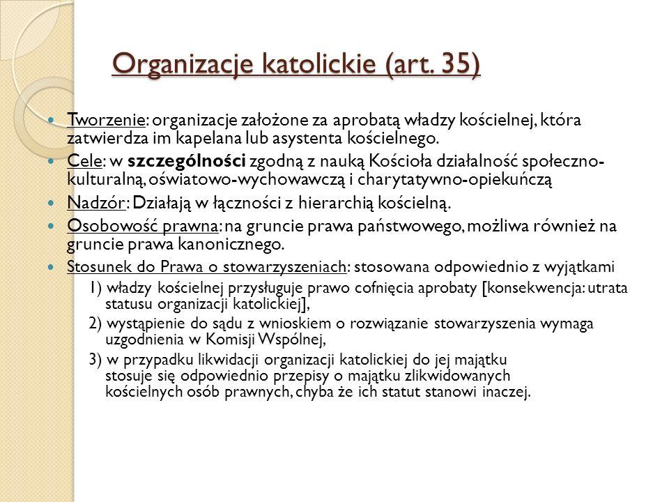 Organizacje katolickie (art. 35) Tworzenie: organizacje założone za aprobatą władzy kościelnej, która zatwierdza im kapelana lub asystenta kościelnego