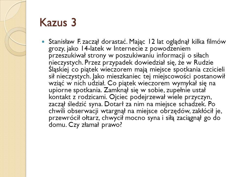 Kazus 3 Stanisław F. zaczął dorastać. Mając 12 lat oglądnął kilka filmów grozy, jako 14-latek w Internecie z powodzeniem przeszukiwał strony w poszuki