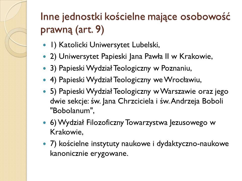 Inne jednostki kościelne mające osobowość prawną (art. 9) 1) Katolicki Uniwersytet Lubelski, 2) Uniwersytet Papieski Jana Pawła II w Krakowie, 3) Papi