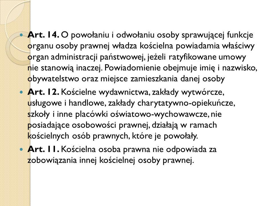Regulacja konkordatowa Artykuł 4 2.