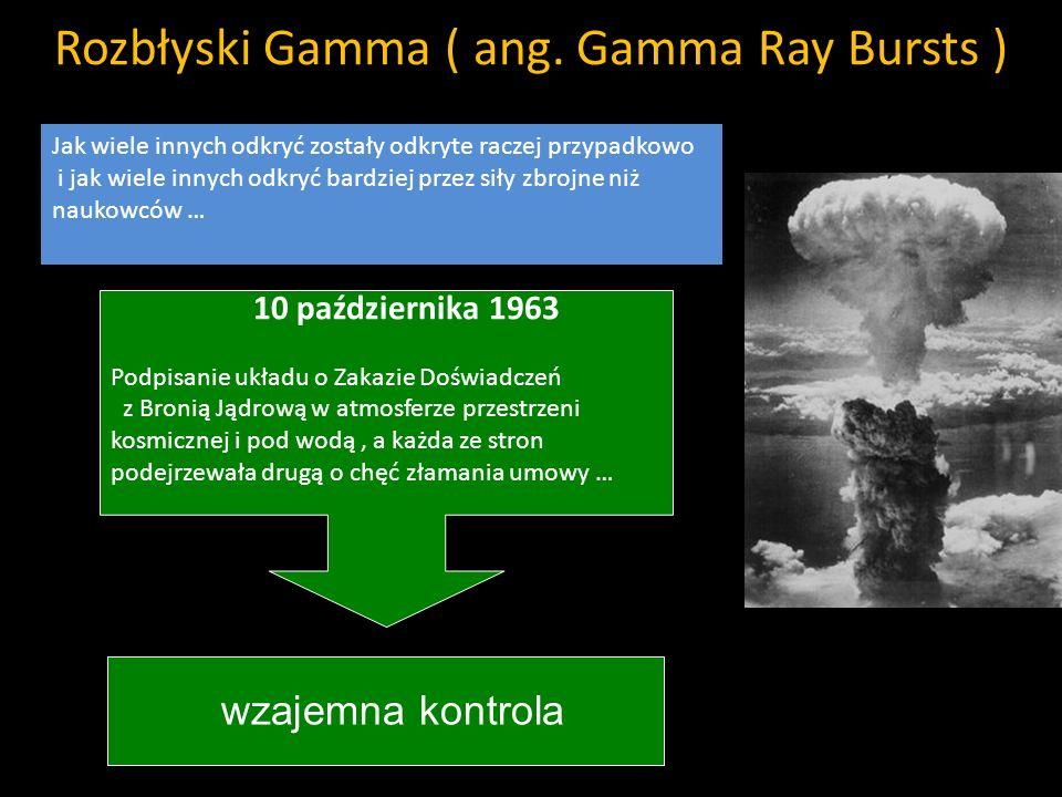 Rozbłyski Gamma ( ang. Gamma Ray Bursts ) Jak wiele innych odkryć zostały odkryte raczej przypadkowo i jak wiele innych odkryć bardziej przez siły zbr