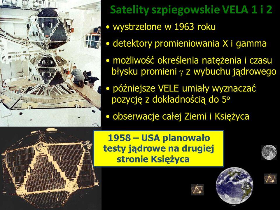 1958 – USA planowało testy jądrowe na drugiej stronie Księżyca Satelity szpiegowskie VELA 1 i 2 wystrzelone w 1963 roku detektory promieniowania X i g