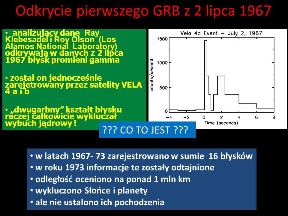 Odkrycie pierwszego GRB z 2 lipca 1967 analizujący dane Ray Klebesadel i Roy Olson (Los Alamos National Laboratory) odkrywają w danych z 2 lipca 1967