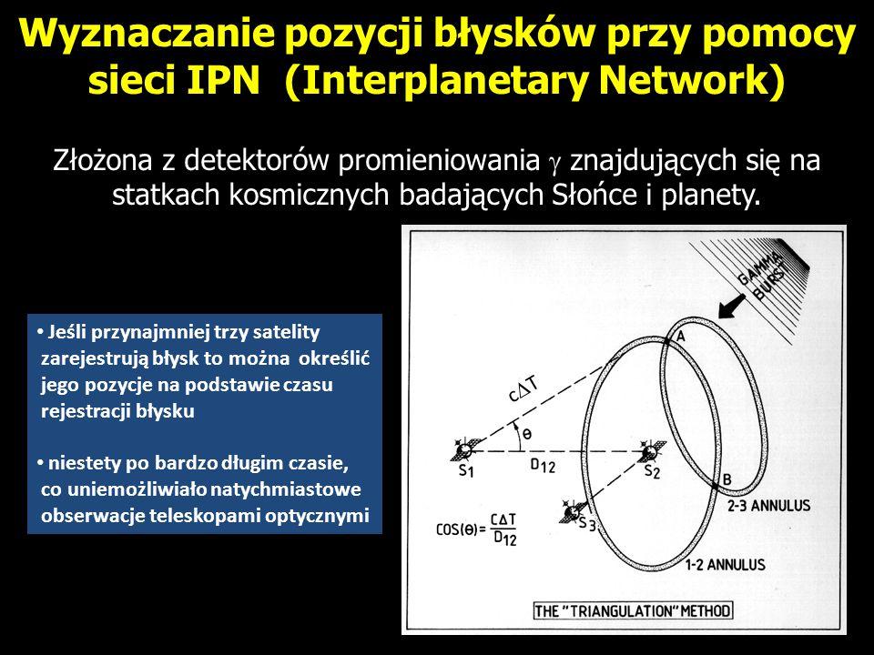 Wyznaczanie pozycji błysków przy pomocy sieci IPN (Interplanetary Network) Złożona z detektorów promieniowania znajdujących się na statkach kosmicznyc