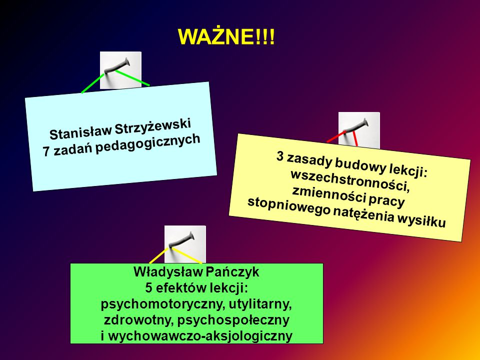WAŻNE!!! Stanisław Strzyżewski 7 zadań pedagogicznych 3 zasady budowy lekcji: wszechstronności, zmienności pracy stopniowego natężenia wysiłku Władysł
