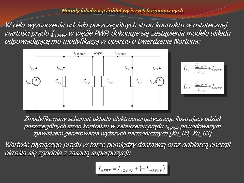 Metody lokalizacji źródeł wyższych harmonicznych Zmodyfikowany schemat układu elektroenergetycznego ilustrujący udział poszczególnych stron kontraktu