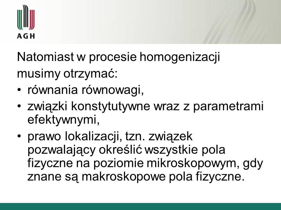 Natomiast w procesie homogenizacji musimy otrzymać: równania równowagi, związki konstytutywne wraz z parametrami efektywnymi, prawo lokalizacji, tzn.