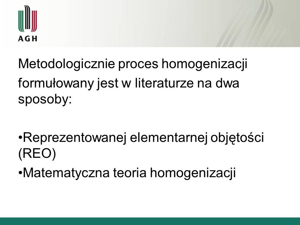 Metodologicznie proces homogenizacji formułowany jest w literaturze na dwa sposoby: Reprezentowanej elementarnej objętości (REO) Matematyczna teoria h