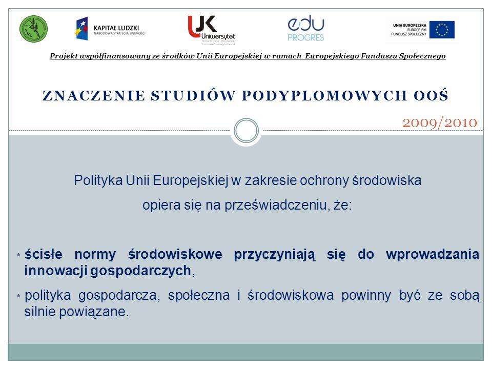 ZNACZENIE STUDIÓW PODYPLOMOWYCH OOŚ Projekt współfinansowany ze środków Unii Europejskiej w ramach Europejskiego Funduszu Społecznego 2009/2010 Polity