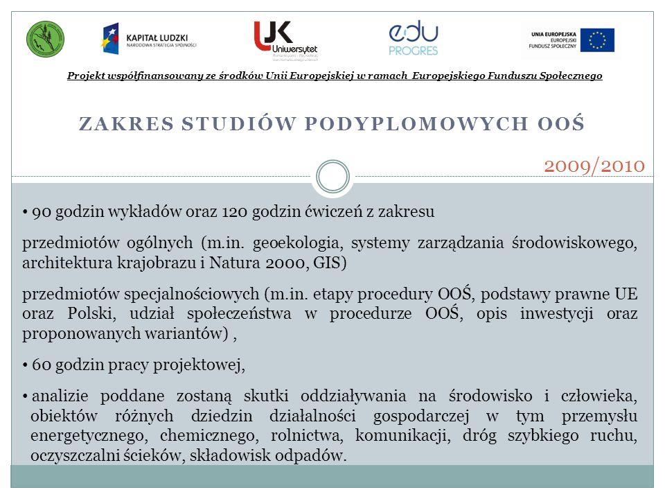 ZAKRES STUDIÓW PODYPLOMOWYCH OOŚ Projekt współfinansowany ze środków Unii Europejskiej w ramach Europejskiego Funduszu Społecznego 2009/2010 90 godzin