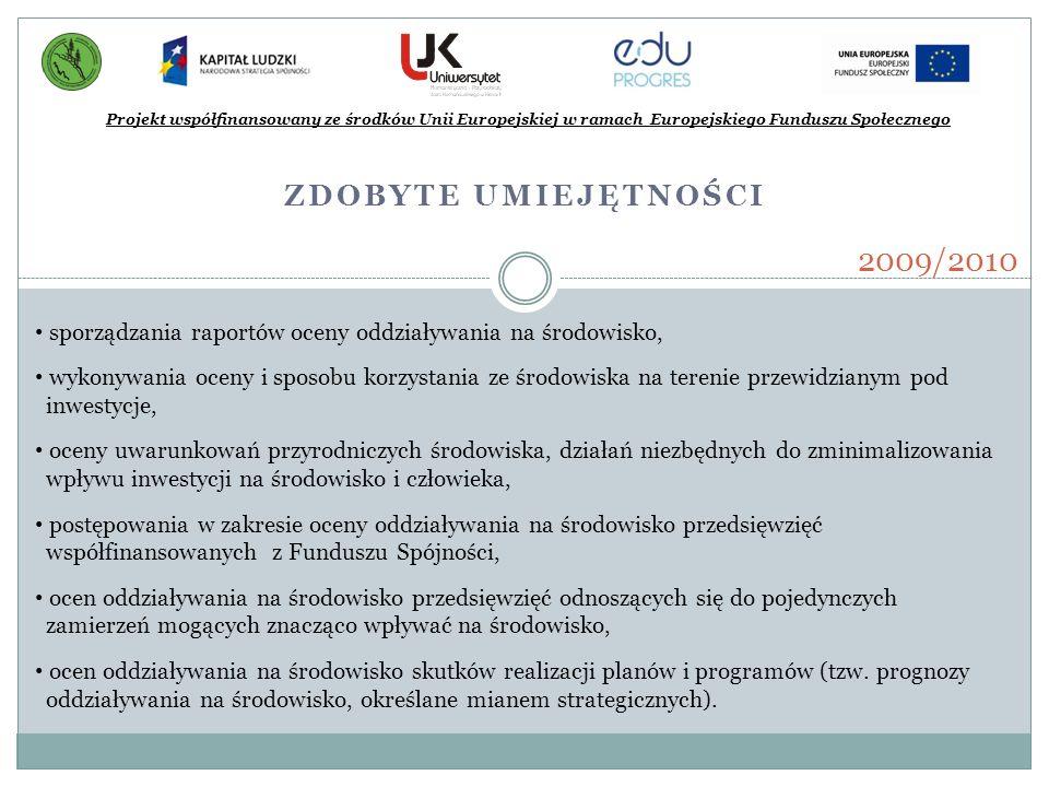 ZDOBYTE UMIEJĘTNOŚCI Projekt współfinansowany ze środków Unii Europejskiej w ramach Europejskiego Funduszu Społecznego 2009/2010 sporządzania raportów