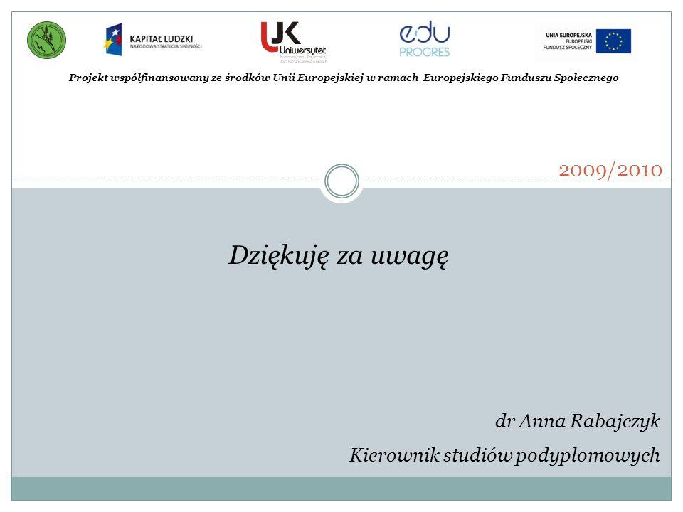 Projekt współfinansowany ze środków Unii Europejskiej w ramach Europejskiego Funduszu Społecznego 2009/2010 Dziękuję za uwagę dr Anna Rabajczyk Kierow