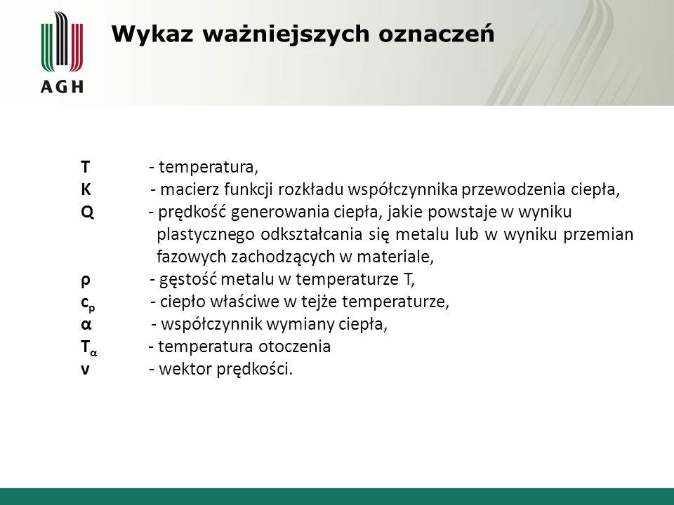 Wykaz ważniejszych oznaczeń T - temperatura, K - macierz funkcji rozkładu współczynnika przewodzenia ciepła, Q - prędkość generowania ciepła, jakie po
