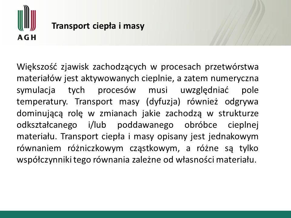 Transport ciepła i masy Większość zjawisk zachodzących w procesach przetwórstwa materiałów jest aktywowanych cieplnie, a zatem numeryczna symulacja ty