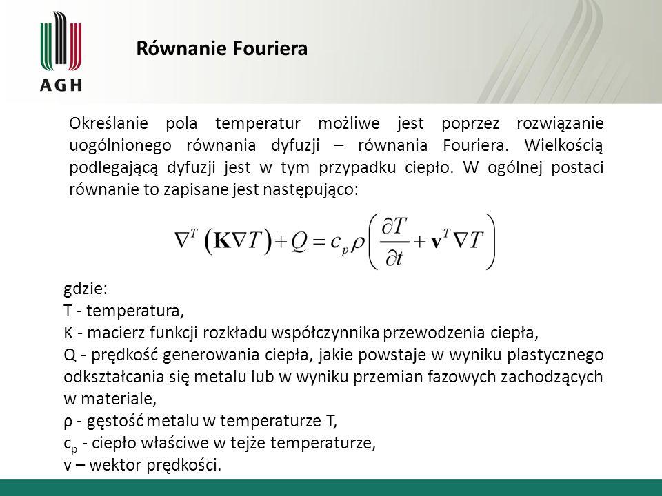 Równanie Fouriera Określanie pola temperatur możliwe jest poprzez rozwiązanie uogólnionego równania dyfuzji – równania Fouriera. Wielkością podlegając