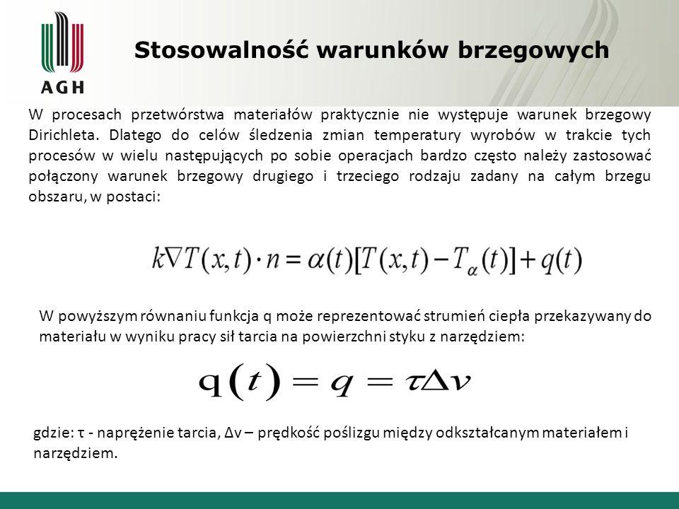 Wprowadzanie warunków brzegowych w MES Wprowadzenie warunków brzegowych następuje poprzez wykonanie odpowiednich modykacji macierzy współczynników układu równań oraz wektora prawych stron.
