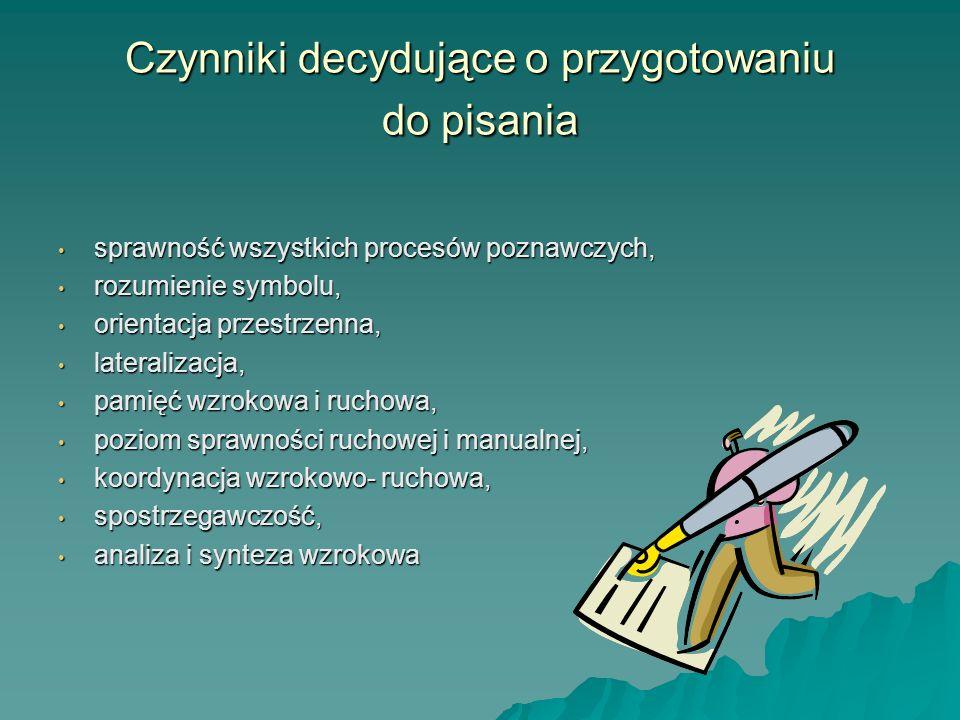 Czynniki decydujące o przygotowaniu do pisania sprawność wszystkich procesów poznawczych, sprawność wszystkich procesów poznawczych, rozumienie symbol