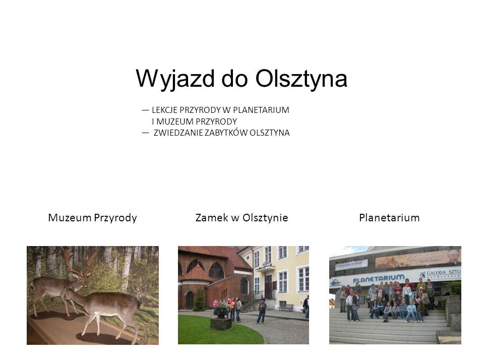 Muzeum PrzyrodyZamek w OlsztyniePlanetarium Wyjazd do Olsztyna LEKCJE PRZYRODY W PLANETARIUM I MUZEUM PRZYRODY ZWIEDZANIE ZABYTKÓW OLSZTYNA