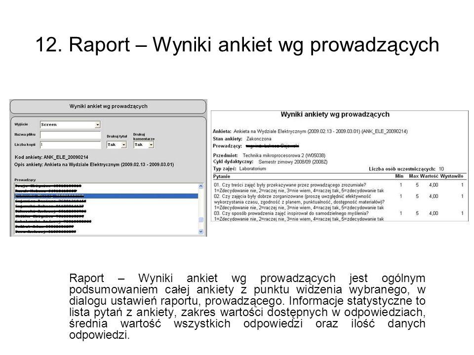 12. Raport – Wyniki ankiet wg prowadzących Raport – Wyniki ankiet wg prowadzących jest ogólnym podsumowaniem całej ankiety z punktu widzenia wybranego