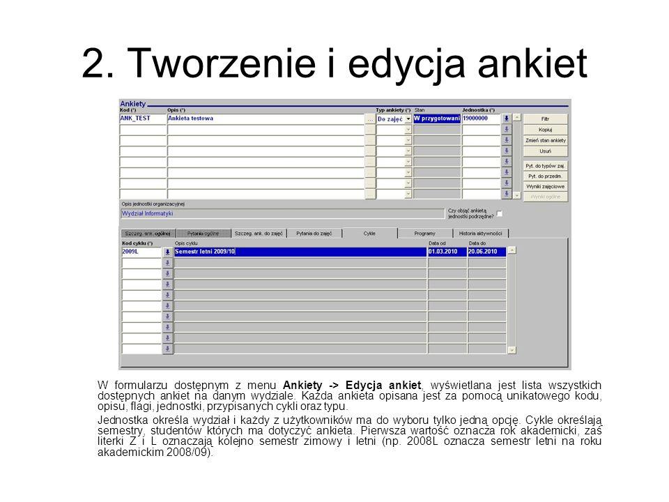 2. Tworzenie i edycja ankiet W formularzu dostępnym z menu Ankiety -> Edycja ankiet, wyświetlana jest lista wszystkich dostępnych ankiet na danym wydz