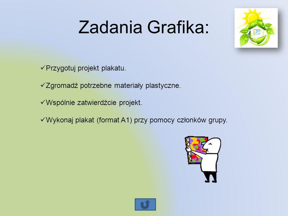 Zadania Grafika: Przygotuj projekt plakatu. Zgromadź potrzebne materiały plastyczne. Wspólnie zatwierdźcie projekt. Wykonaj plakat (format A1) przy po
