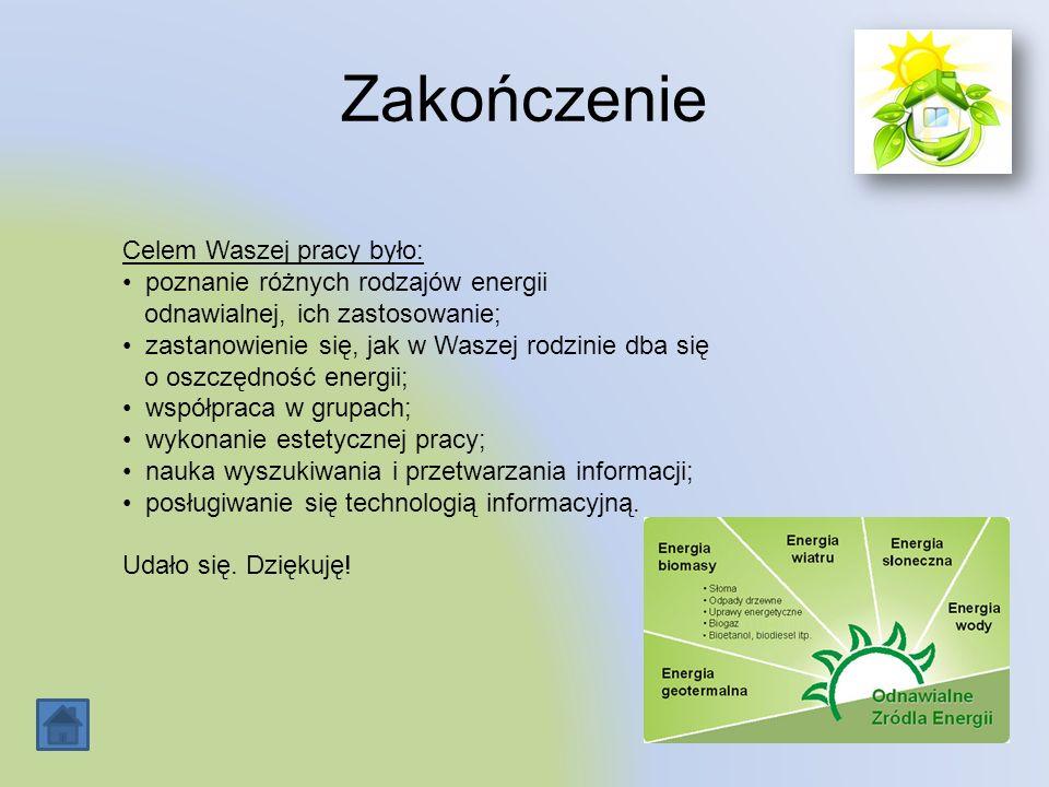 Zakończenie Celem Waszej pracy było: poznanie różnych rodzajów energii odnawialnej, ich zastosowanie; zastanowienie się, jak w Waszej rodzinie dba się