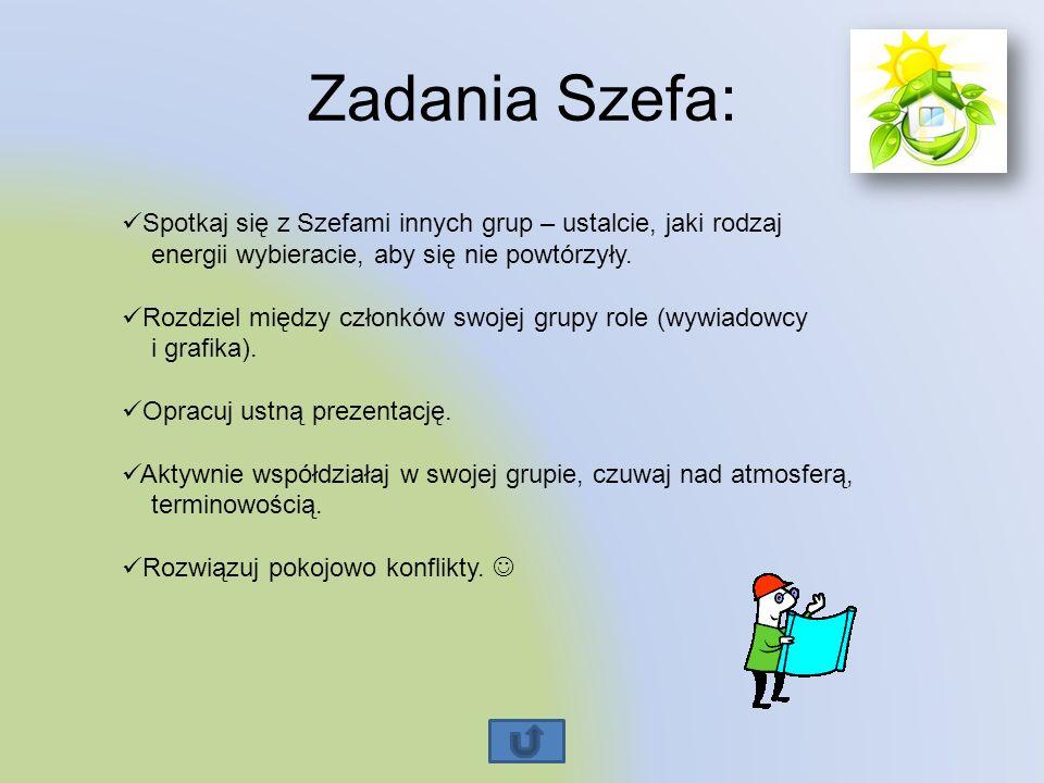 Zadania Szefa: Spotkaj się z Szefami innych grup – ustalcie, jaki rodzaj energii wybieracie, aby się nie powtórzyły. Rozdziel między członków swojej g