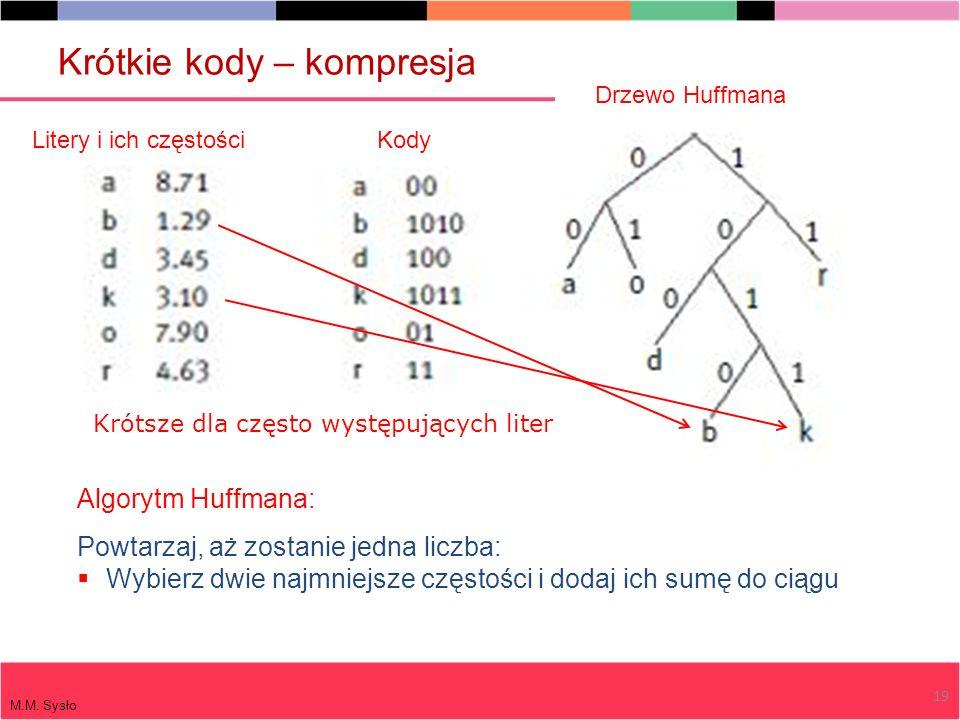 Algorytm Huffmana: Powtarzaj, aż zostanie jedna liczba: Wybierz dwie najmniejsze częstości i dodaj ich sumę do ciągu Litery i ich częstości M.M. Sysło