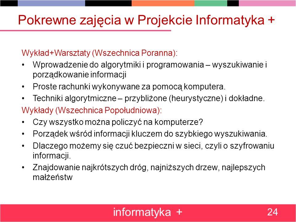 Pokrewne zajęcia w Projekcie Informatyka + Wykład+Warsztaty (Wszechnica Poranna): Wprowadzenie do algorytmiki i programowania – wyszukiwanie i porządk