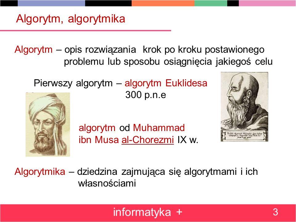 Algorytmy a informatyka Informatyka – jedna z definicji: dziedzina wiedzy i działalności zajmująca się algorytmami Donald E.