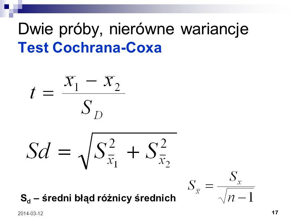 17 2014-03-12 Dwie próby, nierówne wariancje Test Cochrana-Coxa S d – średni błąd różnicy średnich