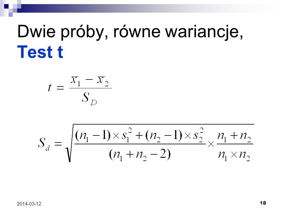 18 2014-03-12 Dwie próby, równe wariancje, Test t