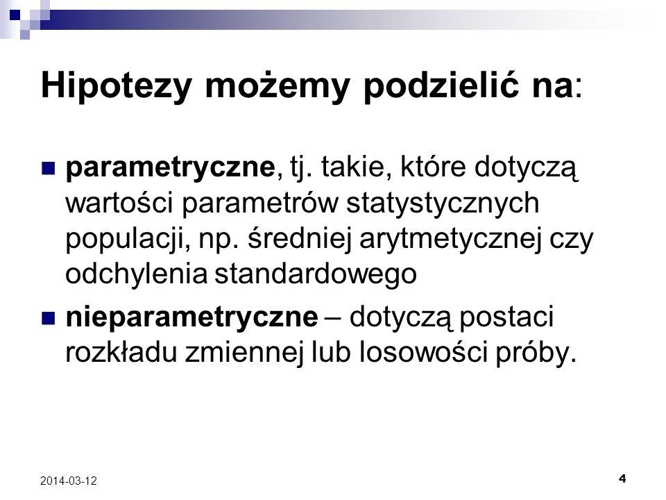 4 2014-03-12 Hipotezy możemy podzielić na: parametryczne, tj.