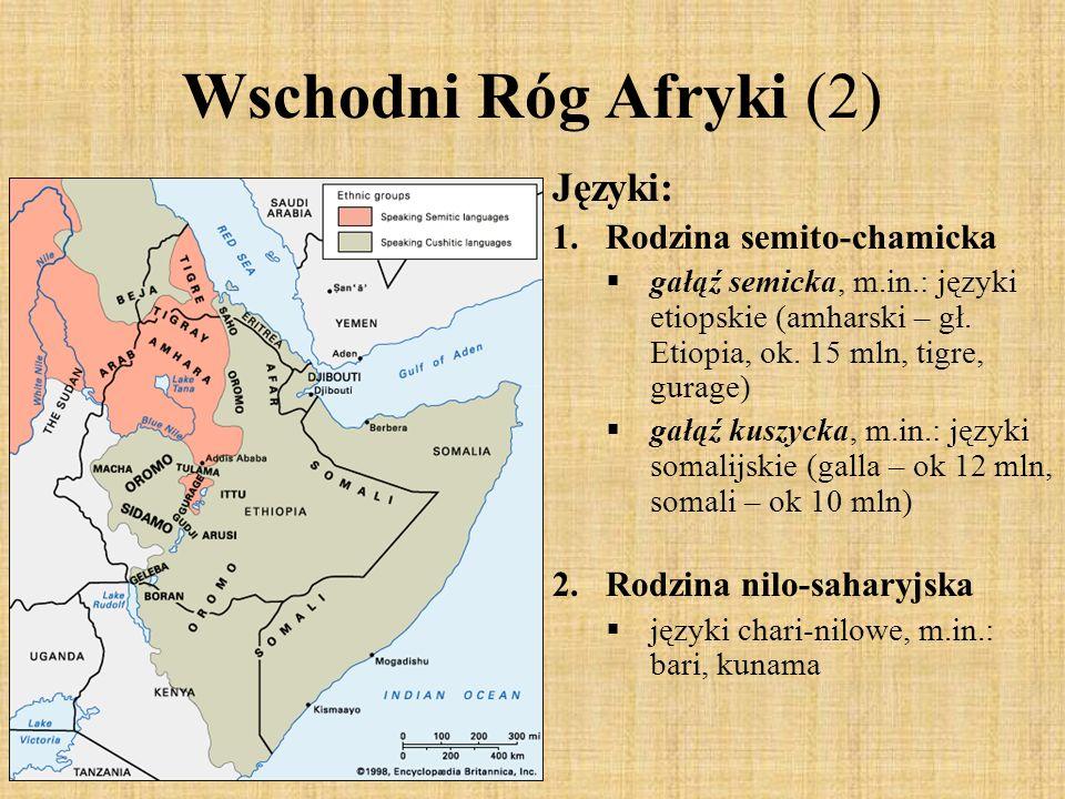 Wschodni Róg Afryki (2) Języki: 1.Rodzina semito-chamicka gałąź semicka, m.in.: języki etiopskie (amharski – gł. Etiopia, ok. 15 mln, tigre, gurage) g