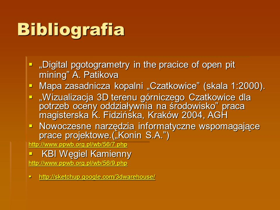 Bibliografia Digital pgotogrametry in the pracice of open pit mining A.