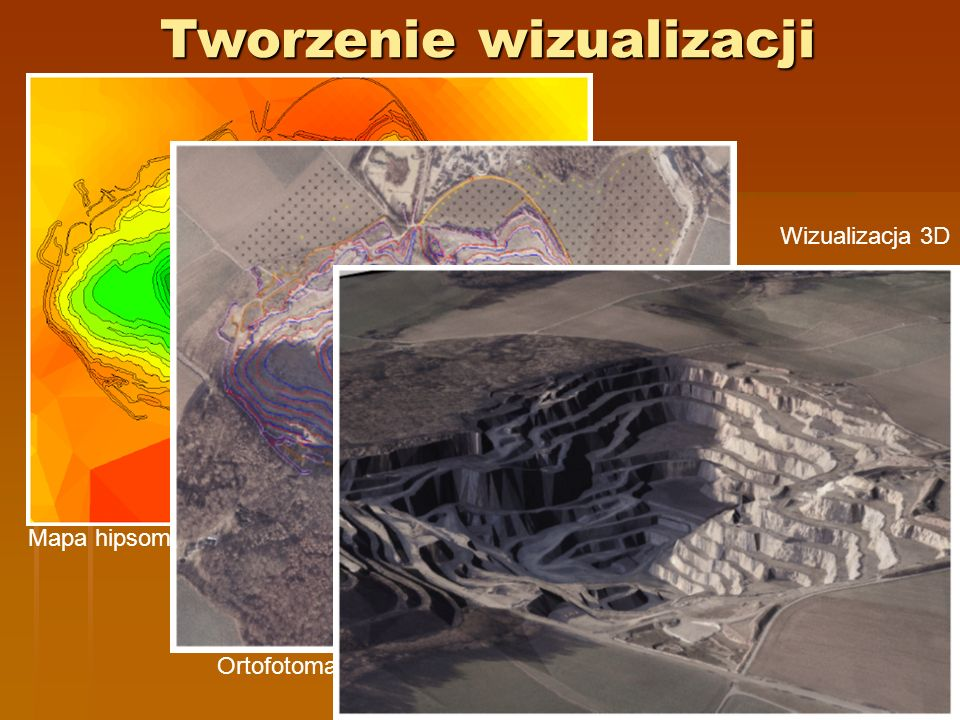 Mapa hipsometryczna Wizualizacja 3D Ortofotomapa i mapa wektorowa Tworzenie wizualizacji
