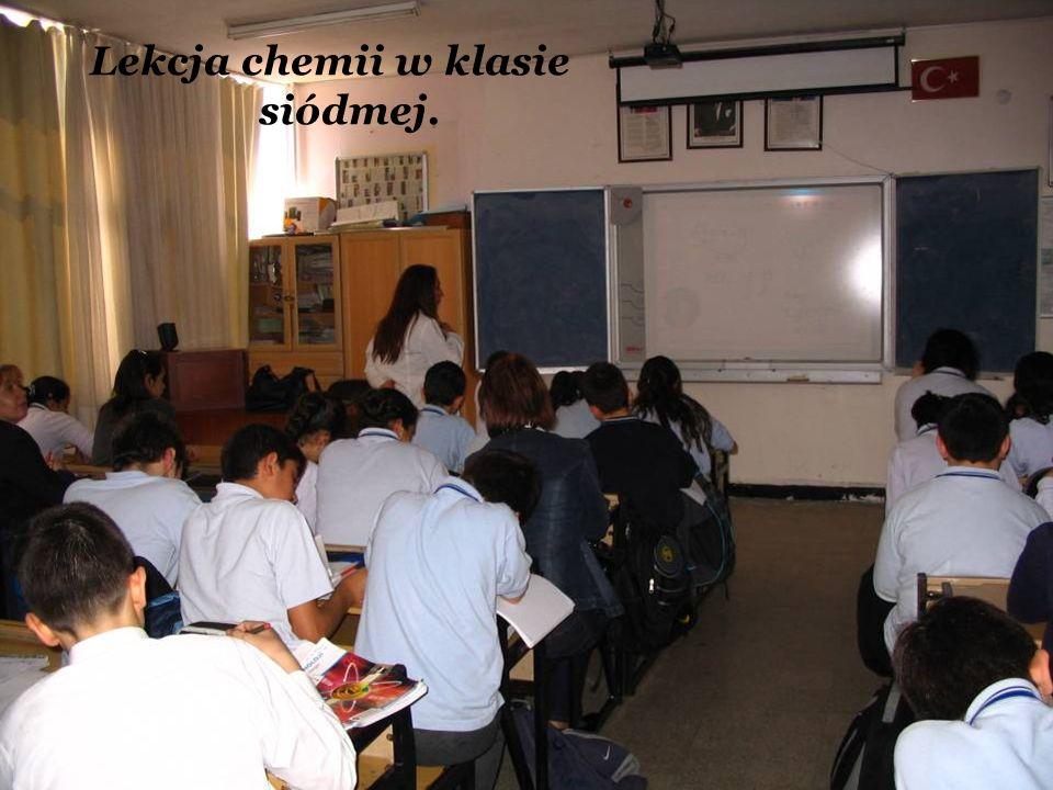 Lekcja chemii w klasie siódmej.