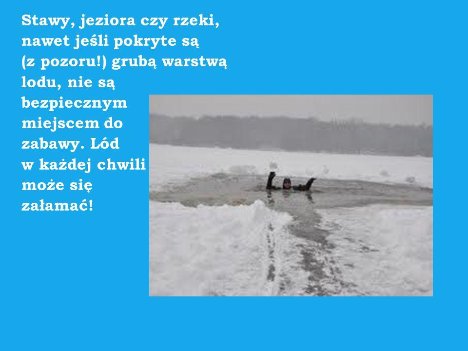 Stawy, jeziora czy rzeki, nawet jeśli pokryte są (z pozoru!) grubą warstwą lodu, nie są bezpiecznym miejscem do zabawy. Lód w każdej chwili może się z