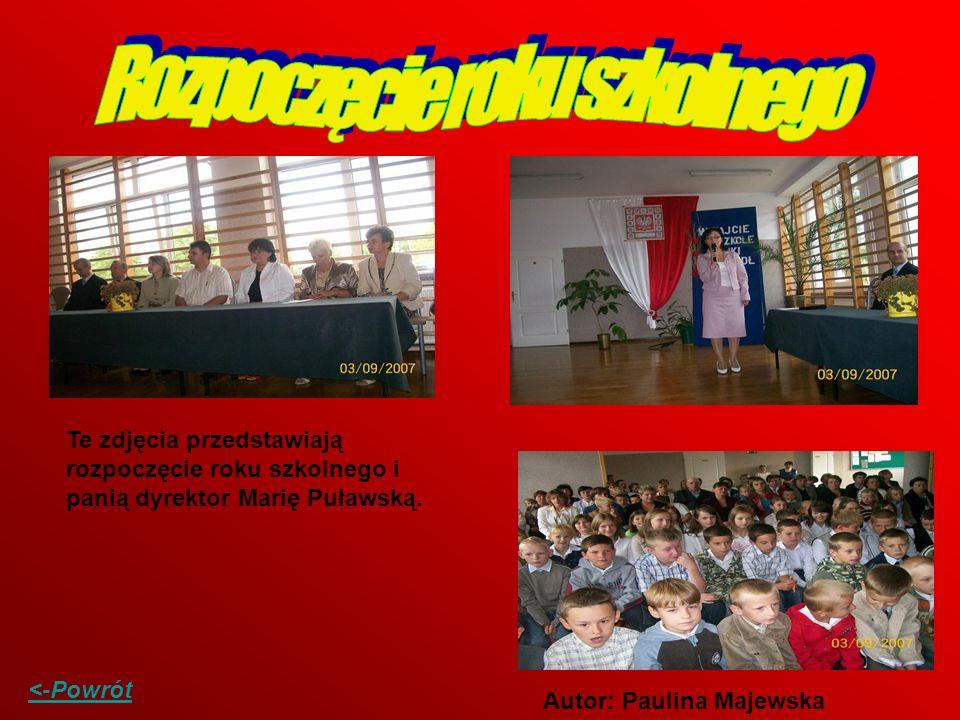 Te zdjęcia przedstawiają rozpoczęcie roku szkolnego i panią dyrektor Marię Puławską. Autor: Paulina Majewska <-Powrót