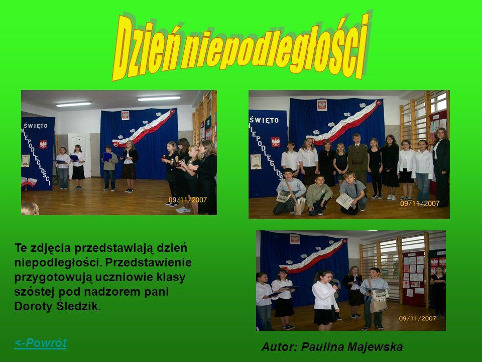 Te zdjęcia przedstawiają dzień niepodległości. Przedstawienie przygotowują uczniowie klasy szóstej pod nadzorem pani Doroty Śledzik. <-Powrót Autor: P
