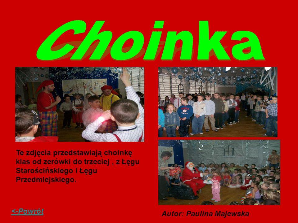 Te zdjęcia przedstawiają choinkę klas od zerówki do trzeciej, z Łęgu Starościńskiego i Łęgu Przedmiejskiego. <-Powrót Autor: Paulina Majewska