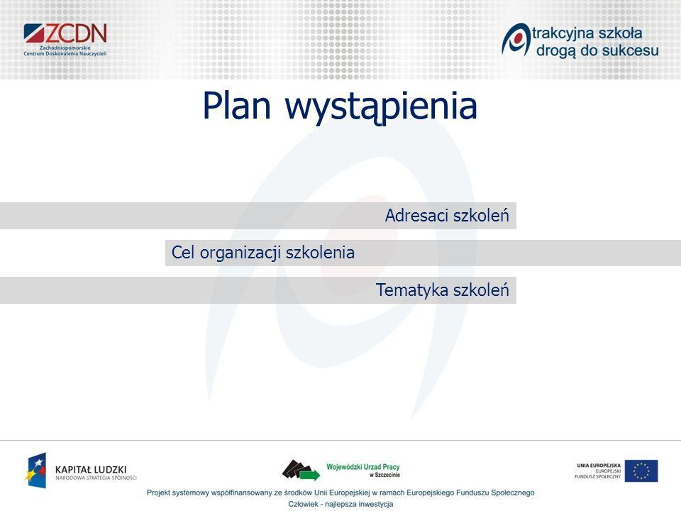 Plan wystąpienia Adresaci szkoleń Cel organizacji szkolenia Tematyka szkoleń