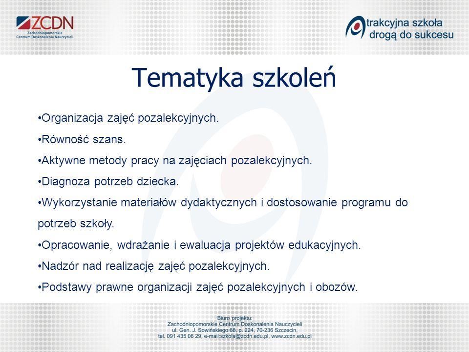 Tematyka szkoleń Organizacja zajęć pozalekcyjnych.