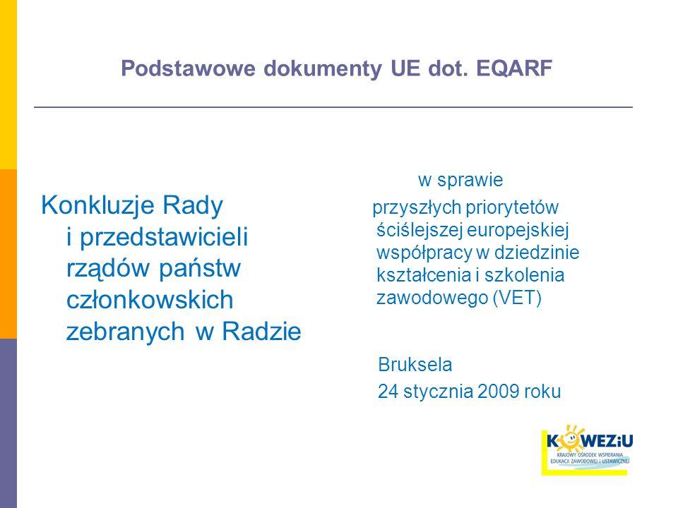 Podstawowe dokumenty UE dot. EQARF Konkluzje Rady i przedstawicieli rządów państw członkowskich zebranych w Radzie w sprawie przyszłych priorytetów śc