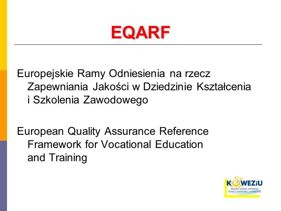 EQARF Europejskie Ramy Odniesienia na rzecz Zapewniania Jakości w Dziedzinie Kształcenia i Szkolenia Zawodowego European Quality Assurance Reference Framework for Vocational Education and Training