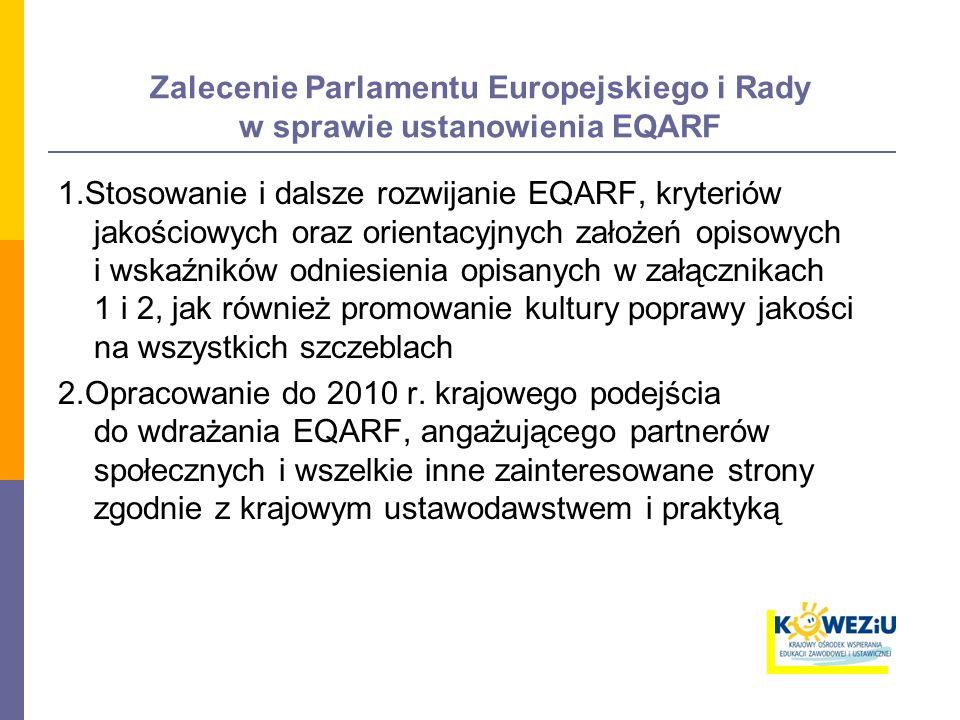 Zalecenie Parlamentu Europejskiego i Rady w sprawie ustanowienia EQARF 1.Stosowanie i dalsze rozwijanie EQARF, kryteriów jakościowych oraz orientacyjnych założeń opisowych i wskaźników odniesienia opisanych w załącznikach 1 i 2, jak również promowanie kultury poprawy jakości na wszystkich szczeblach 2.Opracowanie do 2010 r.