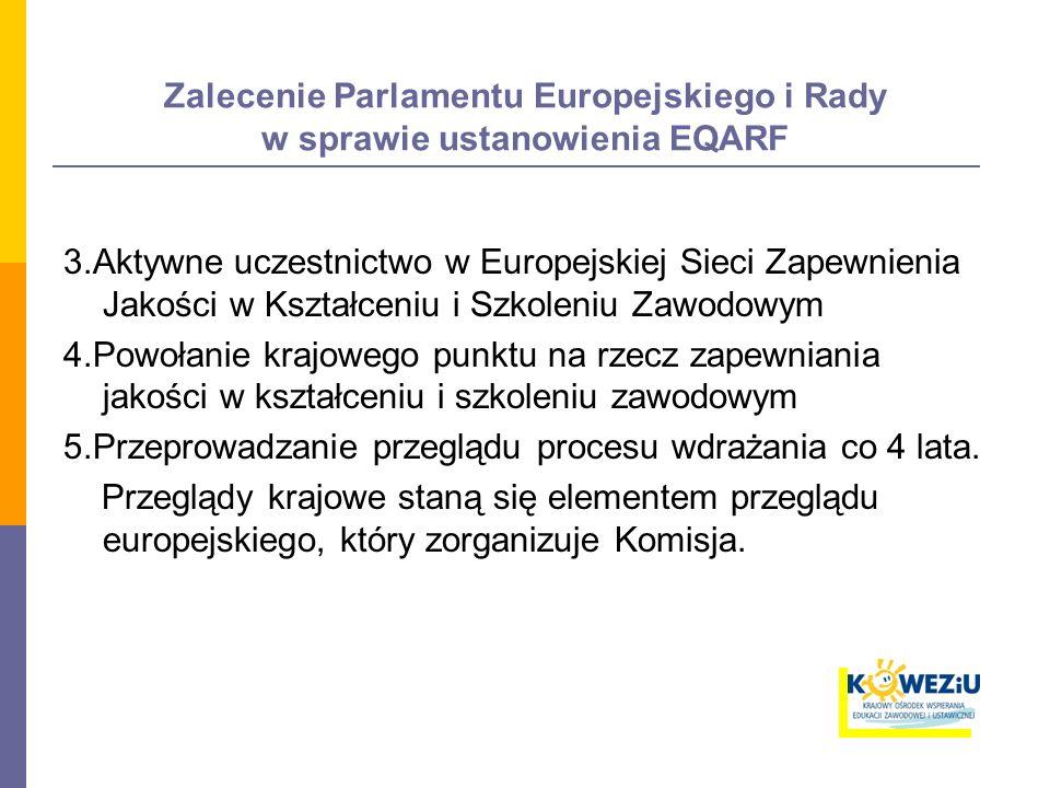 Zalecenie Parlamentu Europejskiego i Rady w sprawie ustanowienia EQARF 3.Aktywne uczestnictwo w Europejskiej Sieci Zapewnienia Jakości w Kształceniu i Szkoleniu Zawodowym 4.Powołanie krajowego punktu na rzecz zapewniania jakości w kształceniu i szkoleniu zawodowym 5.Przeprowadzanie przeglądu procesu wdrażania co 4 lata.