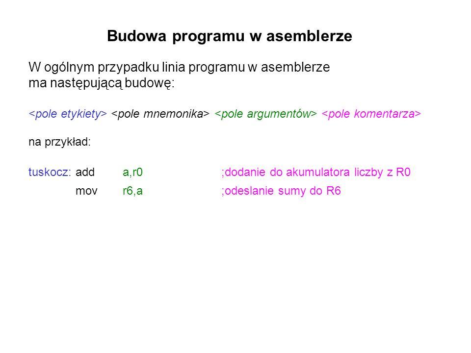 Budowa programu w asemblerze W ogólnym przypadku linia programu w asemblerze ma następującą budowę: na przykład: tuskocz:adda,r0 ;dodanie do akumulatora liczby z R0 movr6,a ;odeslanie sumy do R6