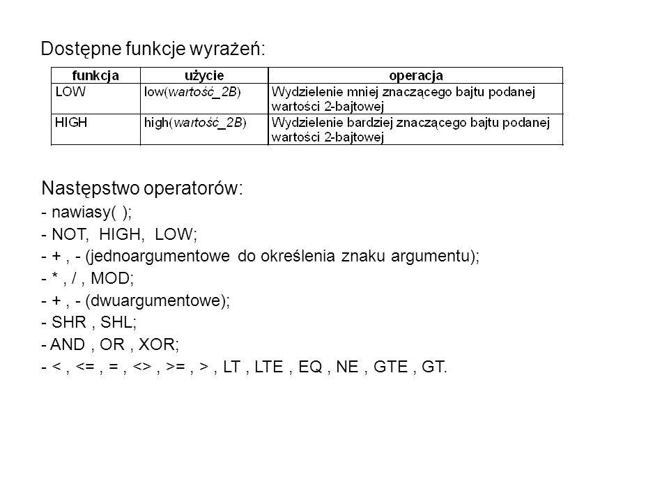 Dostępne funkcje wyrażeń: Następstwo operatorów: - nawiasy( ); - NOT, HIGH, LOW; - +, - (jednoargumentowe do określenia znaku argumentu); - *, /, MOD; - +, - (dwuargumentowe); - SHR, SHL; - AND, OR, XOR; -, >=, >, LT, LTE, EQ, NE, GTE, GT.