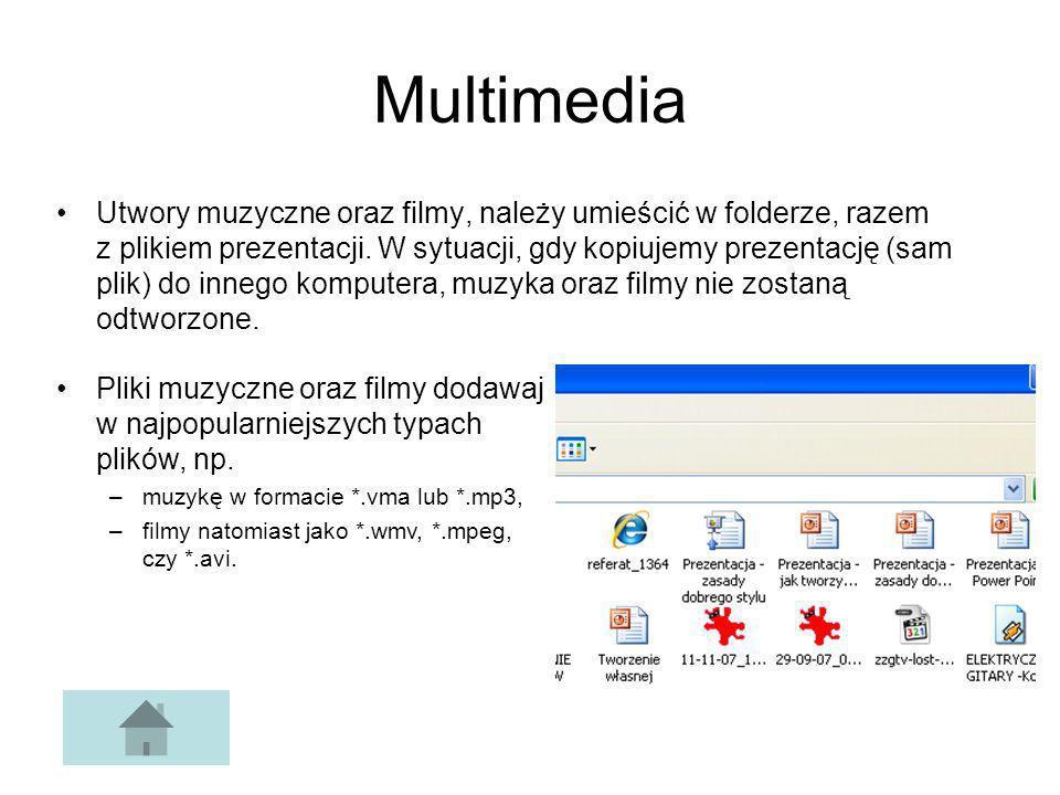 Multimedia Utwory muzyczne oraz filmy, należy umieścić w folderze, razem z plikiem prezentacji. W sytuacji, gdy kopiujemy prezentację (sam plik) do in
